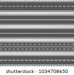 set of roads and road bends.... | Shutterstock .eps vector #1034708650