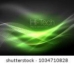 neon smoke waves  vector... | Shutterstock .eps vector #1034710828