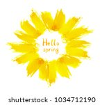 yellow wreath with brush... | Shutterstock . vector #1034712190