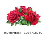 Stock photo red roses watercolor sketch 1034718760