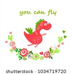 cute vector dinosaur. card ... | Shutterstock .eps vector #1034719720