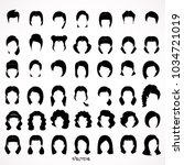big set of black hair styling... | Shutterstock .eps vector #1034721019