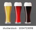 realistic beer glasses. mugs... | Shutterstock .eps vector #1034723098