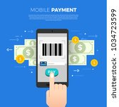 flat design concept payment.... | Shutterstock .eps vector #1034723599