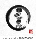 pebble zen stones balance in... | Shutterstock .eps vector #1034734000