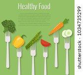 vegetables on forks. healthy... | Shutterstock .eps vector #1034735299