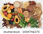 food with high fiber content... | Shutterstock . vector #1034746273