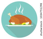 baked chicken on a tray.... | Shutterstock .eps vector #1034751298