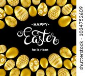 happy easter card with... | Shutterstock .eps vector #1034752609