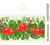 floral border seamless... | Shutterstock .eps vector #1034754568