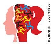 woman hidden stress concept.... | Shutterstock .eps vector #1034759638