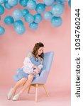 a beautiful  tender young girl...   Shutterstock . vector #1034760244