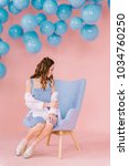 a beautiful  tender young girl...   Shutterstock . vector #1034760250