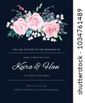 modern wedding invitation with... | Shutterstock .eps vector #1034761489