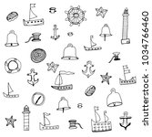 hand drawn sketch style marine... | Shutterstock .eps vector #1034766460