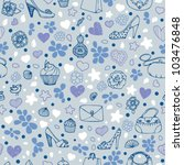 blue girly seamless pattern