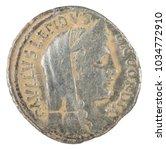 Small photo of Roman Republic Coin. Ancient Roman silver denarius of the family Aemilia. Obverse.