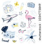 travel and summer vacation... | Shutterstock .eps vector #1034773849