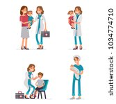 pediatrician doctor exam... | Shutterstock .eps vector #1034774710
