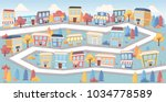 streets on a big colorful city | Shutterstock .eps vector #1034778589