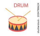 drum and drum sticks. vector... | Shutterstock .eps vector #1034788624