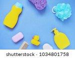 yellow shampoo bottle  purple...   Shutterstock . vector #1034801758
