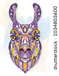 patterned head of the llama on... | Shutterstock .eps vector #1034803600