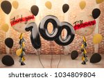 100 followers thank you with... | Shutterstock . vector #1034809804