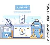 e learning concept for... | Shutterstock .eps vector #1034812069