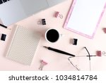 home office desk with clip...   Shutterstock . vector #1034814784