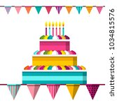 cake with lit candles and flags.... | Shutterstock .eps vector #1034815576