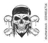 pirate retro skull isolated on...   Shutterstock .eps vector #1034816716