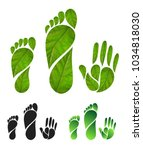 set of green carbon foot print... | Shutterstock .eps vector #1034818030