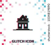 home  glitch effect vector icon. | Shutterstock .eps vector #1034819890