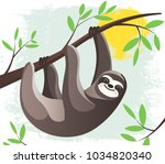 cartoon lazy hanging sloth in a ... | Shutterstock .eps vector #1034820340