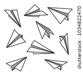 isolated various paper planes... | Shutterstock .eps vector #1034822470