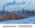 winter views of the pond with... | Shutterstock . vector #1034828230