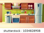 Vector cartoon cooking room interior, kitchen counter with appliances - washing machine, toaster, fridge, microwave, kettle, blender, stove, potholder. Cupboard furniture Household objects | Shutterstock vector #1034828908