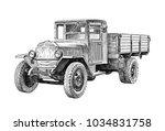 heavy truck of the second world ...   Shutterstock . vector #1034831758