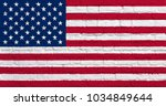 usa flag with wall texture | Shutterstock . vector #1034849644