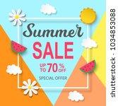 summer sale banner template... | Shutterstock .eps vector #1034853088