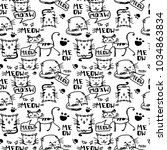 cat doodle background | Shutterstock .eps vector #1034863834