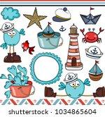 nautical set digital elements  | Shutterstock .eps vector #1034865604