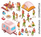 picnic barbecue family summer... | Shutterstock .eps vector #1034869516