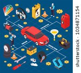 car service isometric flowchart ...   Shutterstock .eps vector #1034871154