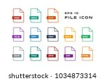 set of document labels and file ... | Shutterstock .eps vector #1034873314