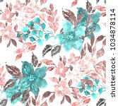 Stock photo watercolor seamless pattern with simple hand drawn flowers floral print 1034878114