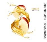 juice splash with apple slices... | Shutterstock .eps vector #1034882680