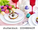 beautiful table setting with... | Shutterstock . vector #1034884639