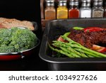 fresh glazed baked big beef... | Shutterstock . vector #1034927626